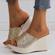 Mulheres PU Plataforma Sandálias Chinelos com Lantejoulas Espumante Glitter sapatos