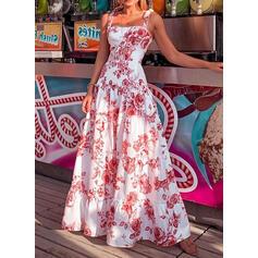 Nadrukowana/Kwiatowy Bez rękawów W kształcie litery A Łyżwiaż Casual/Wakacyjna Maxi Sukienki