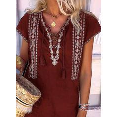 Lace Short Sleeves Shift Above Knee Casual/Boho Tunic Dresses