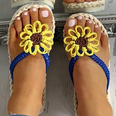 Women's PU Flat Heel Sandals Flats Peep Toe Slippers With Flower shoes