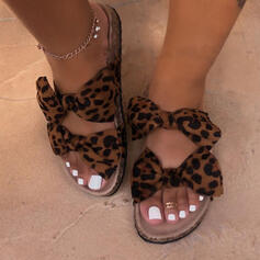 Női Szövet Lapos sarok Szandál Peep Toe Papucs -Val Csokornyakkendő Animal Print cipő