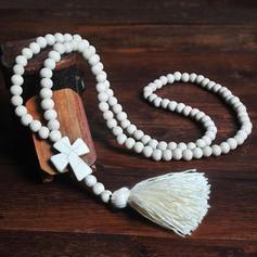 Elegante Simples Contas de madeira com Borlas Mulheres Brincos