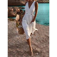Çizgili Kolsuz Bir Çizgi Patenci Tatil Midi Elbiseler