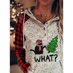 Animal Print Grid Figure Pockets Long Sleeves Christmas Sweatshirt