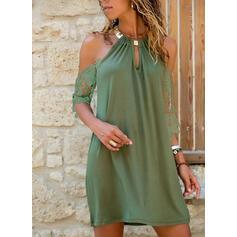 Lace/Solid 1/2 Sleeves Shift Above Knee Little Black/Elegant/Vacation Dresses