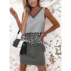 Color-block/Leopard Bezrukávů Splývavé Nad kolena Elegantní Šaty