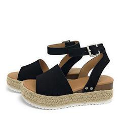 Mulheres PU Plataforma Sandálias Calços Peep toe Saltos com Animal da Cópia sapatos