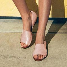 Women's Leatherette Flat Heel Sandals Peep Toe shoes