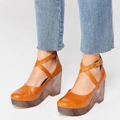 Bayanlar PU Topuklu ayakkabı Sandalet Pompalar Ile Bağcıklı ayakkabı ayakkabı