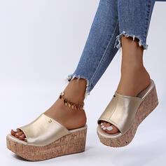 Dámské PU Klínový podpatek Sandály Boty na klínu Pantofle S Nýt obuv