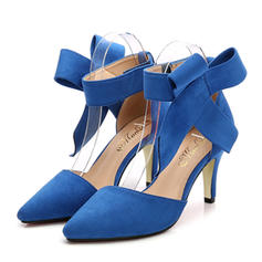 De mujer Ante Tacón stilettos Sandalias Salón Cerrados con Bowknot zapatos