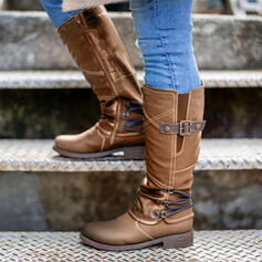 Women's Leatherette Low Heel Mid-Calf Boots Round Toe With Buckle shoes