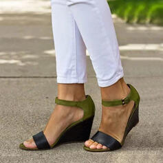 PU Tipo de tacón Sandalias Cuñas Encaje Tacones con Hebilla zapatos