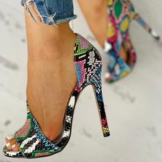 Kvinnor PU Stilettklack Sandaler Pumps Peep Toe Klackar med Animaliska Tryck skor