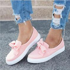 Femmes Suède Talon plat Chaussures plates avec Bowknot Couleur unie chaussures