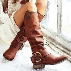 Női PU Chunky sarok Csizma Mid-Calf Csizma -Val Csat Szolid szín cipő