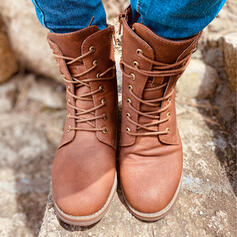 Women's PU Low Heel Mid-Calf Boots Round Toe With Lace-up Solid Color shoes