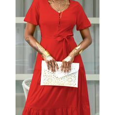 Jednolita Krótkie rękawy W kształcie litery A Łyżwiaż Casual/Wakacyjna Maxi Sukienki