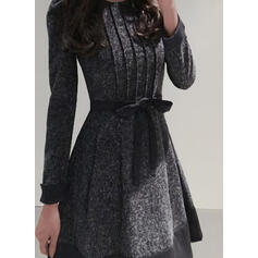 Print Long Sleeves/Puff Sleeves A-line Above Knee Elegant Skater Dresses