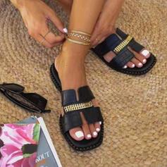 Dla kobiet PU Płaski Obcas Sandały Plaskie Otwarty Nosek Buta Kapcie Z Łańcuszek Tkanina Wypalana obuwie