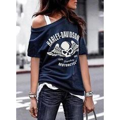 Nadruk Figura Okrągły dekolt Rękaw 1/2 Casual T-shirty