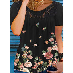 Floral Print Lace Round Neck Short Sleeves T-shirts