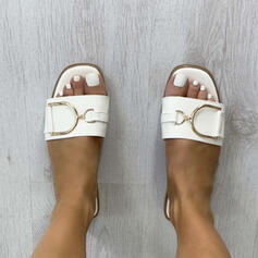 Women's PU Flat Heel Sandals Flats Peep Toe Slippers With Buckle Solid Color shoes