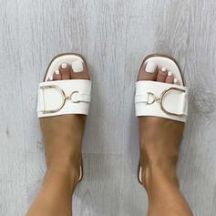 Kvinner PU Flat Hæl Sandaler Flate sko Titte Tå Tøfler med Spenne Ensfarget sko