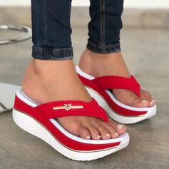 Dámské PU Klínový podpatek Sandály Platforma Boty na klínu S otevřenou špičkou Žabky Pantofle Podpatky S Vydlabaný Splice Color obuv