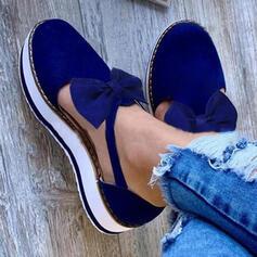 Femmes Suède Talon plat Chaussures plates bout rond avec Bowknot chaussures