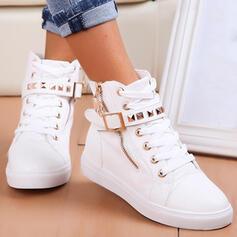 Mulheres PU Sem salto Botas com Rivet Zíper Aplicação de renda Cor sólida sapatos