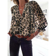 Leopard V-Neck Lantern Sleeve 3/4 Sleeves Casual Blouses