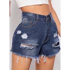 Разорванный кисточка твердый джинсы Джинсы