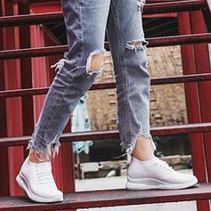 Квартиры Низкая вершина Круглый носок кроссовки с Зашнуровать нашивки обувь