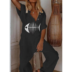 Animal Print V-Neck Short Sleeves Casual Jumpsuit
