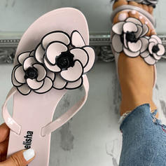 Női PVC Lapos sarok Szandál Flip-flop Papucs -Val Virág cipő