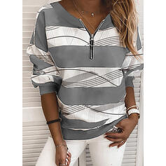 Print Color Block V-Neck Long Sleeves Sweatshirt