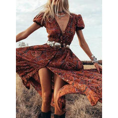 Print Short Sleeves/Puff Sleeves A-line Skater Boho Maxi Dresses