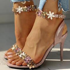 Frauen PU Stöckel Absatz Sandalen Peep Toe mit Schnalle Blume Schuhe