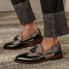 Femmes PU Talon plat Chaussures plates Flâneurs avec Tassel Couleur d'épissure chaussures