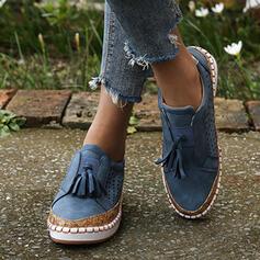 Pentru Femei PU călcâi plat Balerini cu De la gât înafară Ciucure pantofi