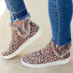 Women's Suede Flat Heel Ankle Boots Round Toe Winter Boots Snow Boots With Zipper Faux-Fur shoes