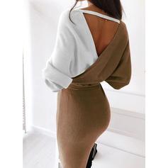 Bloco de Cor Manga Comprida Bodycon Comprimento do joelho Casual Suéter/Lápis Vestidos