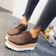 Frauen PU Flascher Absatz Flache Schuhe Slipper mit Strass Zuschnüren Schuhe