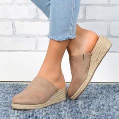 Frauen PU Keil Absatz Sandalen Geschlossene Zehe Pantoffel Schuhe