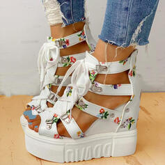 Women's PU Wedge Heel Sandals Platform Wedges Peep Toe Heels With Buckle Flower Crisscross shoes