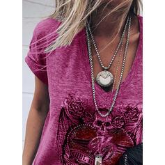 Trykk Figur Hjerte V-hals Korte ermer Casual T-skjorter
