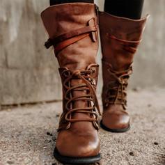 Donna PU Senza tacco Ballerine Punta chiusa Stivali Stivali altezza media con Allacciato scarpe