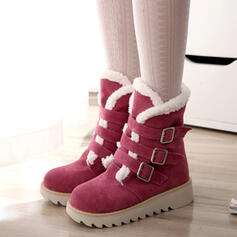 De mujer Ante Tacón plano Botas Botas longitud media Botas de nieve Encaje Botas de invierno con Hebilla Color sólido zapatos