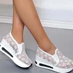 ткань меш Плоский каблук Квартиры Круглый носок кроссовки с Сплошной цвет обувь